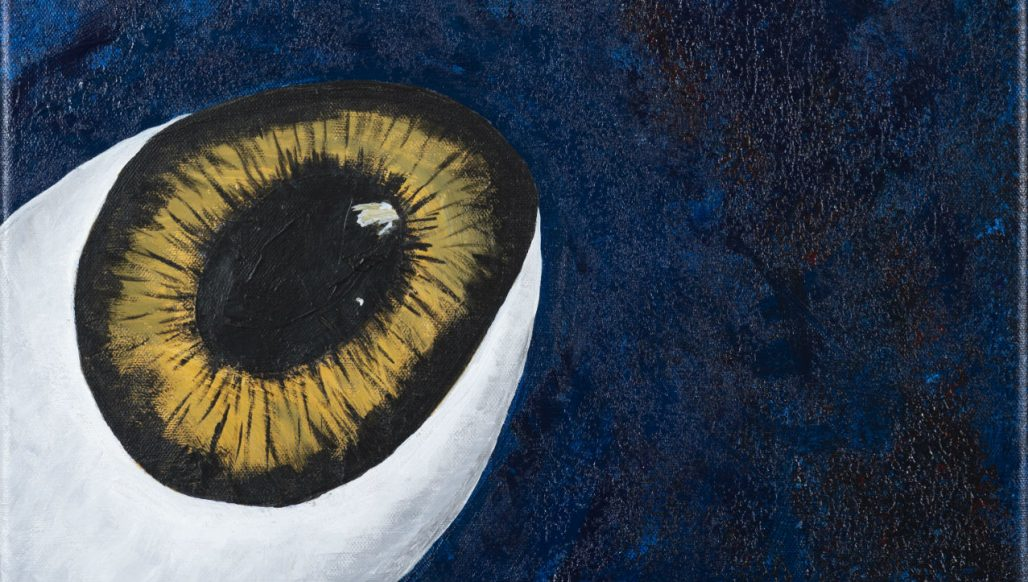Planet Eyes Surrealist painting by Maryse Gauthier