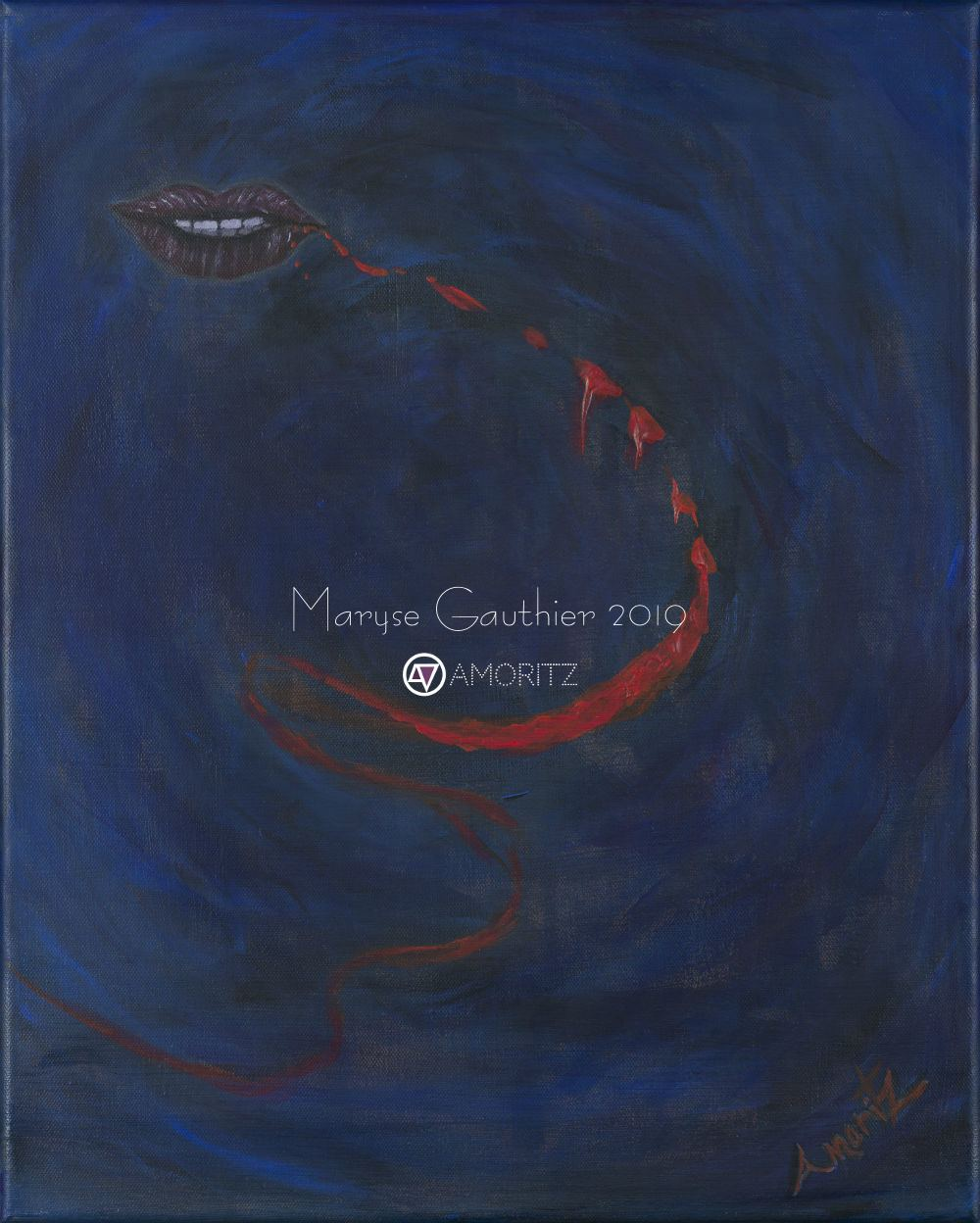 (Version 1) Break of words Surrealist painting by Maryse Gauthier 01-2019